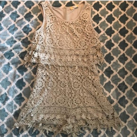 7ae2fd06bf86 Altar d State Crochet tan taupe Romper size medium